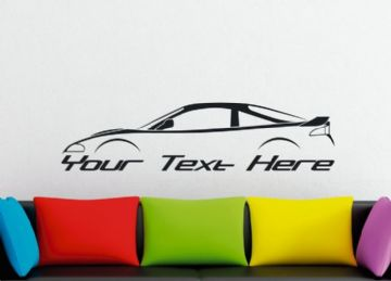 Large Custom car silhouette wall sticker - for Mitsubishi Eclipse 2G  , GS GST GSX with rear spoiler